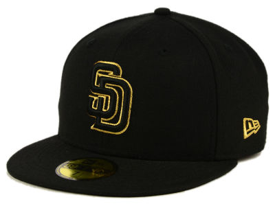 San Diego Padres MLB Black On Metallic Gold 59FIFTY Cap Hats
