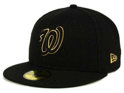 Washington Nationals MLB Black On Metallic Gold 59FIFTY Cap Hats