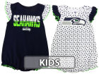 Seattle Seahawks Outerstuff NFL Infant Girls Polka Fan 2 Piece Creeper Set Infant Apparel