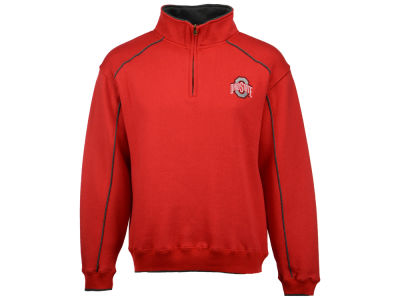 J America NCAA Men's Buckeye Piped Quarter Zip Pullover