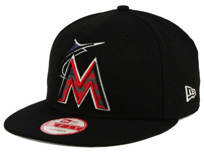 Miami Marlins MLB America Team Logo 9FIFTY Snapback Cap Hats