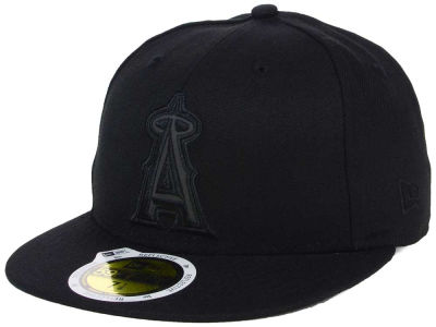 Los Angeles Angels MLB Black on Black Iridescent 59FIFTY Cap Hats
