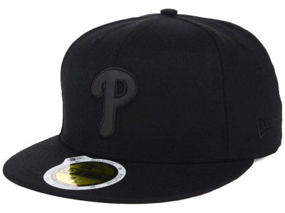 Philadelphia Phillies MLB Black on Black Iridescent 59FIFTY Cap Hats