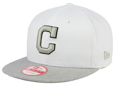Cleveland Indians MLB White Heather Gray Black 9FIFTY Snapback Cap Hats