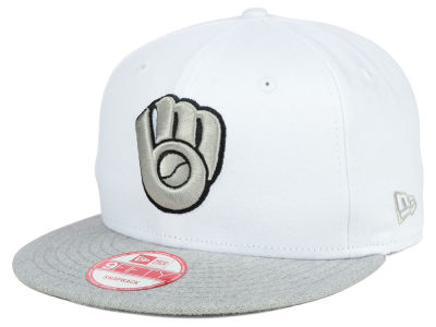 Milwaukee Brewers MLB White Heather Gray Black 9FIFTY Snapback Cap Hats
