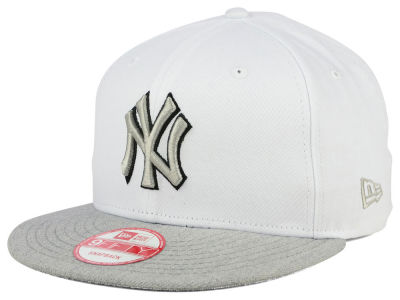 New York Yankees MLB White Heather Gray Black 9FIFTY Snapback Cap Hats