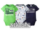 Seattle Seahawks NFL Newborn 3 Piece Creeper Set Infant Apparel