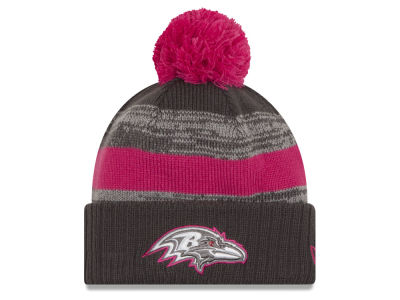 Baltimore Ravens NFL Breast Cancer Awareness Official Pom Knit Hats