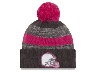 Cleveland Browns NFL Breast Cancer Awareness Official Pom Knit Hats