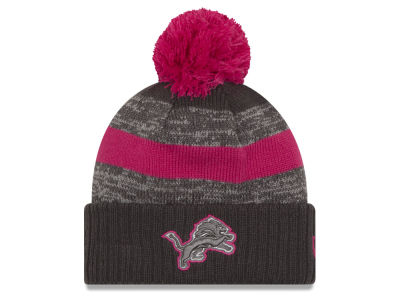 Detroit Lions NFL Breast Cancer Awareness Official Pom Knit Hats