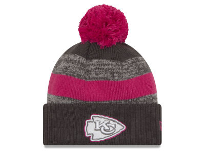 Kansas City Chiefs NFL Breast Cancer Awareness Official Pom Knit Hats