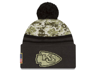 Kansas City Chiefs NFL Salute to Service Official Pom Knit Hats