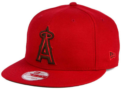 Los Angeles Angels MLB Smoove Leather Logo 9FIFTY Snapback Cap Hats