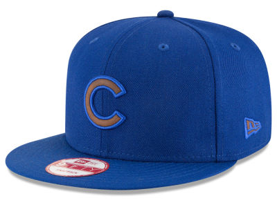 Chicago Cubs MLB Smoove Leather Logo 9FIFTY Snapback Cap Hats
