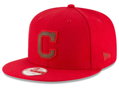Cleveland Indians MLB Smoove Leather Logo 9FIFTY Snapback Cap Hats