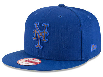 New York Mets MLB Smoove Leather Logo 9FIFTY Snapback Cap Hats