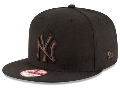 New York Yankees MLB Smoove Leather Logo 9FIFTY Snapback Cap Hats
