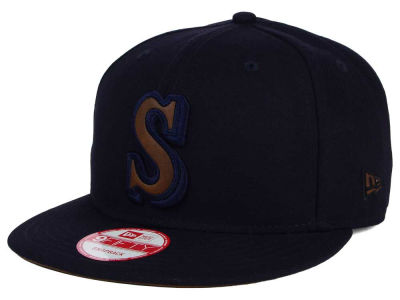 Seattle Mariners MLB Smoove Leather Logo 9FIFTY Snapback Cap Hats