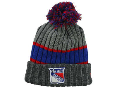 New York Rangers NHL Stripe Chiller Pom Knit Hats