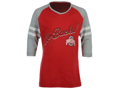 J America NCAA Youth Girls Stripe 3/4 Sleeve T-Shirt