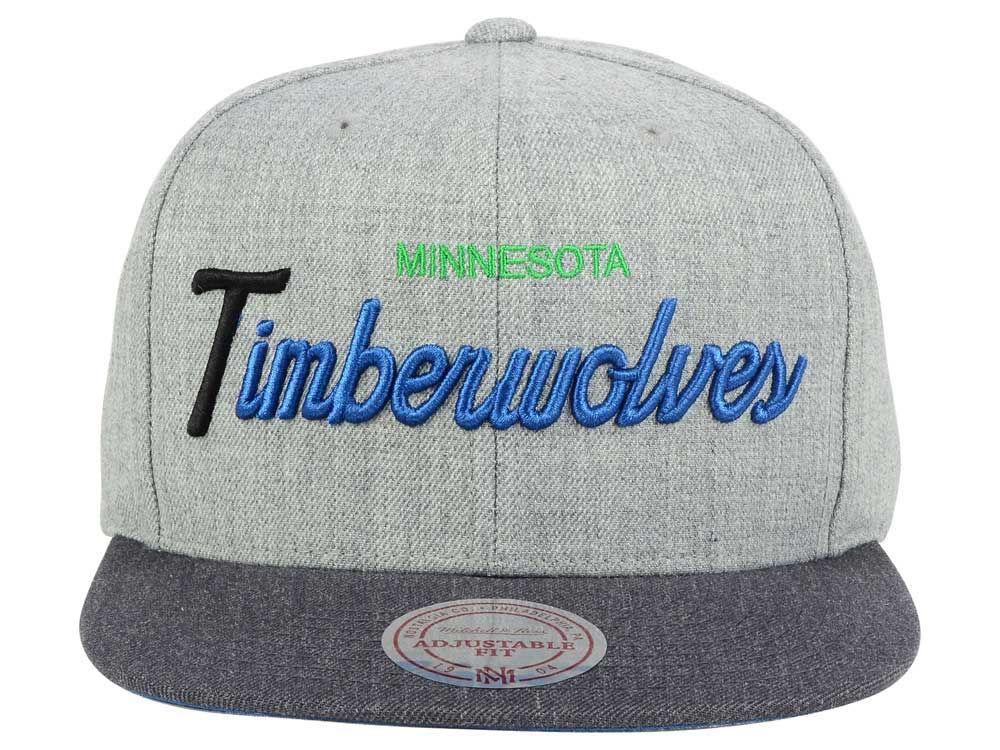e5b43b1790df2 Minnesota Timberwolves Mitchell and Ness NBA Tri Pop Special Script Snapback  Cap outlet