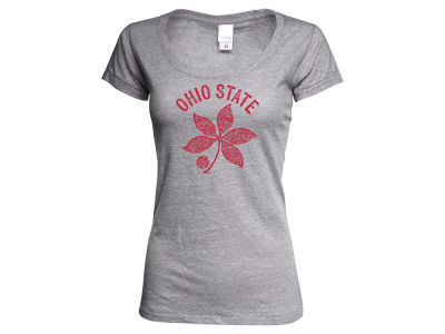 J America NCAA Women's Buckeye Leaf Twisted Slub T-Shirt