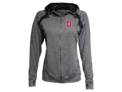 J America NCAA Women's Raglan Mesh Panel Full Zip Hoodie