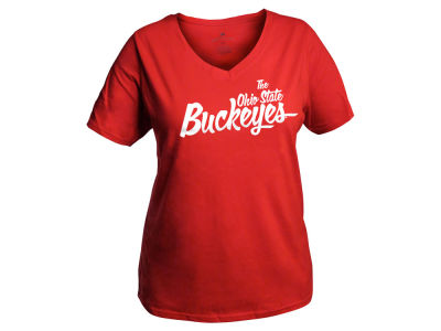 J America NCAA Women's Curves Buckeyes V-Neck T-Shirt