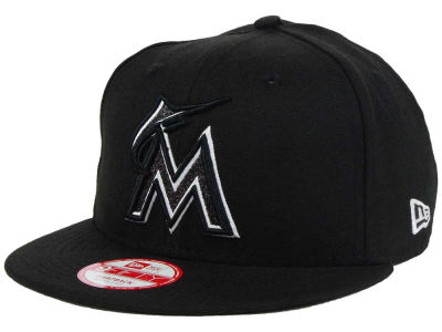 Miami Marlins MLB Black-Tallic 9FIFTY Snapback Cap Hats