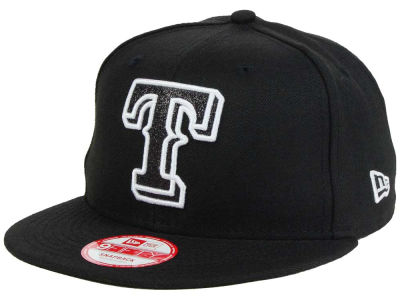 Texas Rangers MLB Black-Tallic 9FIFTY Snapback Cap Hats