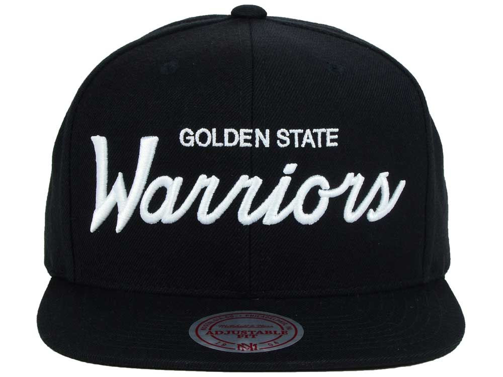 lowest price 6c583 a4872 Golden State Warriors Mitchell and Ness NBA White Script Snapback Cap 85%OFF