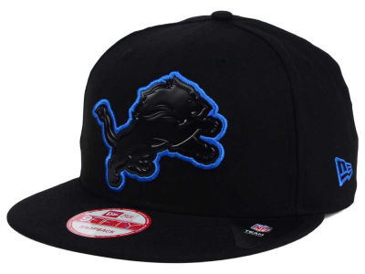 Detroit Lions NFL Black Bevel 9FIFTY Snapback Cap Hats