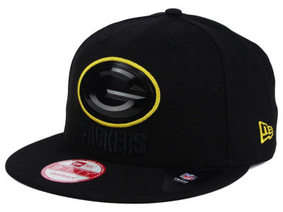 Green Bay Packers NFL Black Bevel 9FIFTY Snapback Cap Hats