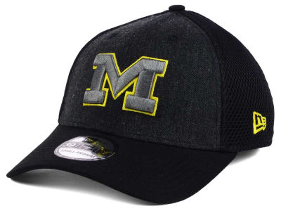 Michigan Wolverines NCAA Heather Black Neo 39THIRTY Cap Hats