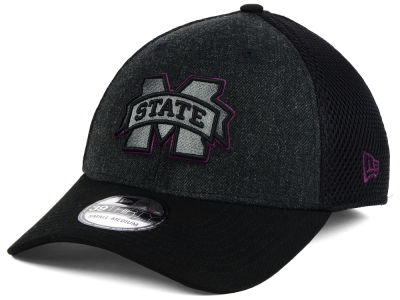 Mississippi State Bulldogs NCAA Heather Black Neo 39THIRTY Cap Hats