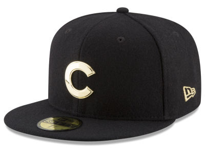 Chicago Cubs MLB Premium O'League Gold 59FIFTY Cap Hats