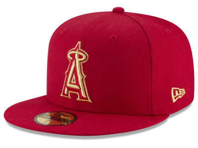 Los Angeles Angels MLB Team On Metallic 59FIFTY Cap Hats