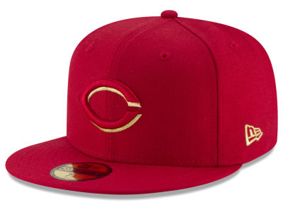 Cincinnati Reds MLB Team On Metallic 59FIFTY Cap Hats