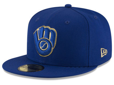 Milwaukee Brewers MLB Team On Metallic 59FIFTY Cap Hats