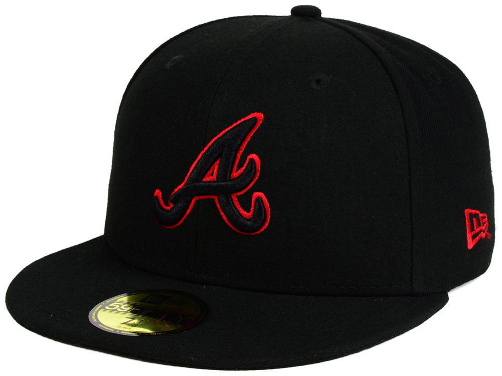 reputable site 1ce1b 94d94 Atlanta Braves New Era MLB Black on Red 59FIFTY Cap hot sale