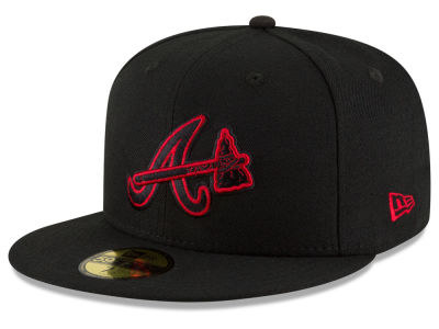 Atlanta Braves MLB Black on Red 59FIFTY Cap Hats