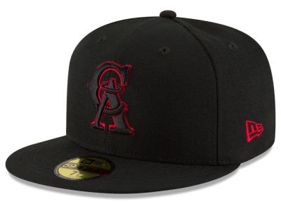 Los Angeles Angels MLB Black on Red 59FIFTY Cap Hats