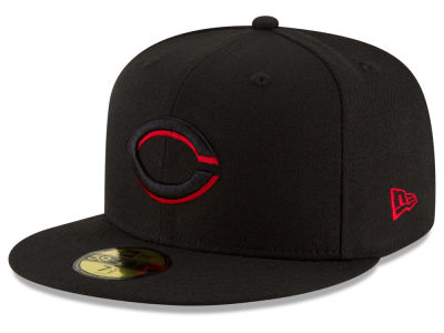 Cincinnati Reds MLB Black on Red 59FIFTY Cap Hats