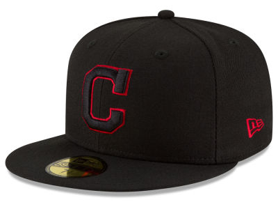 Cleveland Indians MLB Black on Red 59FIFTY Cap Hats