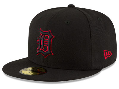 Detroit Tigers MLB Black on Red 59FIFTY Cap Hats