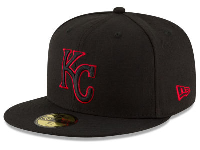Kansas City Royals MLB Black on Red 59FIFTY Cap Hats