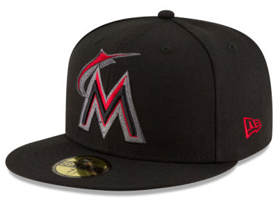 Miami Marlins MLB Black on Red 59FIFTY Cap Hats