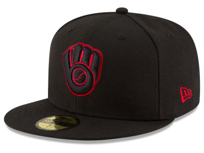 Milwaukee Brewers MLB Black on Red 59FIFTY Cap Hats