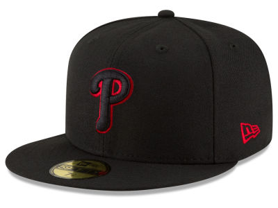 Philadelphia Phillies MLB Black on Red 59FIFTY Cap Hats