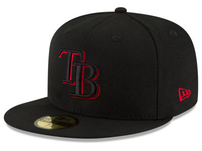 Tampa Bay Rays MLB Black on Red 59FIFTY Cap Hats